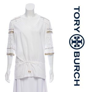 Tory Burch White Embellished Cutout Tunic Top
